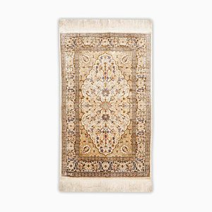 Floral Pure Silk Hereke Rug in Gold-Beige with Border and Medallion