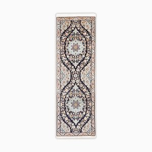 Floral Nain Rug in Blue & Beige with Border