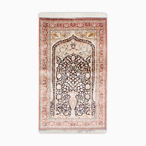 Chinese Floral Pure Silk Hereke Rug in Light Red with Border