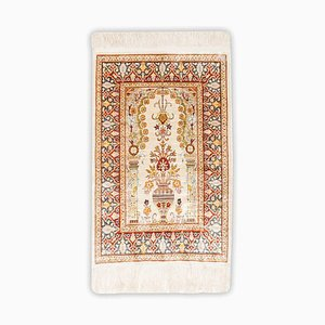 Floral Pure Silk Hereke Rug in Cream White with Border