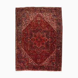 Geometric Heriz Rug in Dark Red with Border and Medallion