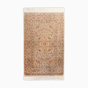 Hereke Rug in Pure Silk with Gold Threads, Border and Signature