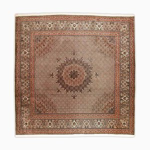 Patterned Tabriz Rug in Brown with Medallion and Border