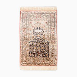 Floral Kayseri Rug in Pure Silk with Gold Threads & Border