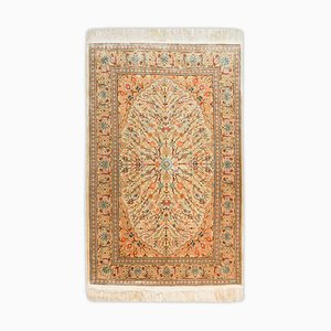 Floral Hereke Rug in Pure Silk with Medallion and Border