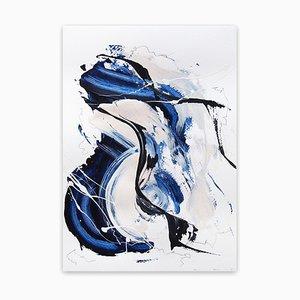 Matita Lena Zak, Blue Velvet 4, 2020, acrilico, gesso e grafite su carta da acquerello 250 gsm