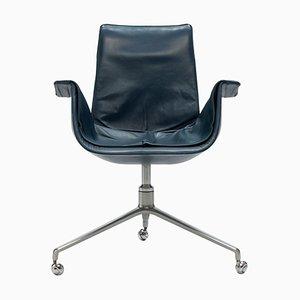 Petrol Blue Bird Desk Chair with Tulip Base by Jorgen Kastholm & Preben Fabricius for Kill International