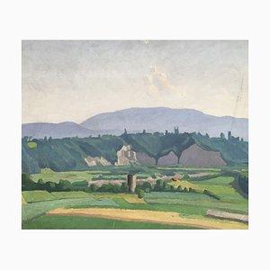 Louis Henri Salzmann, Paysage de la campagne genevoise et du Jura, 1938, Gemälde auf Holz
