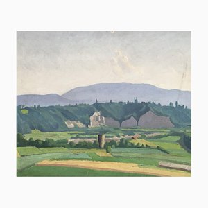 Louis Henri Salzmann, Paysage de la campagne genevoise et du Jura, 1938, Peinture sur Bois
