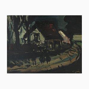 Sylvain Vigny, Promenade du soir, 1968, Painting on Wood, Framed