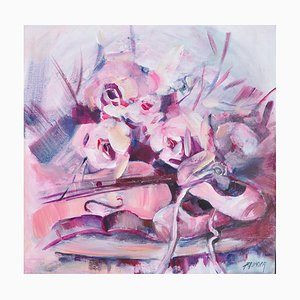 Liliane Paumier, Ballerine et violino, 2021, acrilico su tela