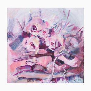 Liliane Paumier, Ballerines et violon, 2021, Acryl auf Leinwand