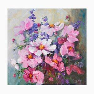 Liliane Paumier, Les fleurs de cosmos, 2021, Acrylic on Canvas