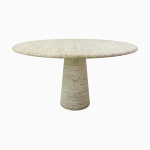 Mid-Century Travertine Dining Table in Style of Angelo Mangiarotti, Italy