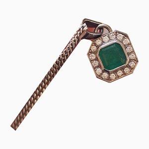 Collier Vintage en Or Blanc 18K avec Emeraude et Diamants, 1970s