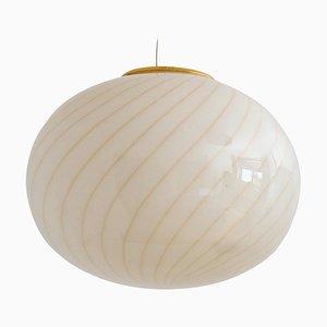 Mid-Century Italian Murano Glass Globe Pendant Lamp with Brass Details, 1970s