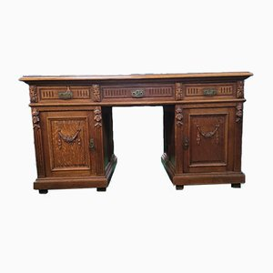 Large Victorian Oak Twin Pedestal Desk with Carvings