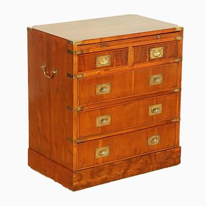 Yew Wood Veneer Military Campaign Chest of Drawers