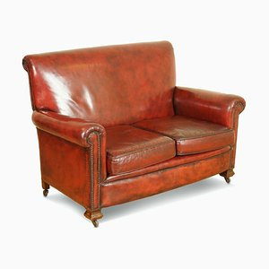 Victorian Burgundy Hand Dyed Leather Gentlemen's Club Sofa