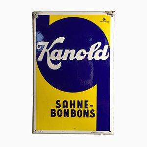Cartel esmaltado de Kanold Sahne Bonbon, años 50