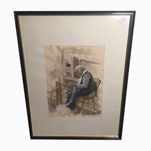Hans Fitze, Woman at Spinning Wheel, Aquarelle, Encadré