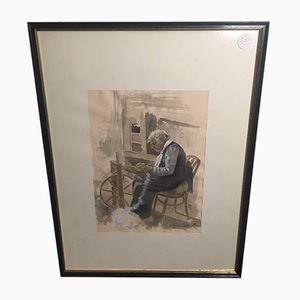 Hans Fitze, Woman at Spinning Wheel, Watercolor, Framed