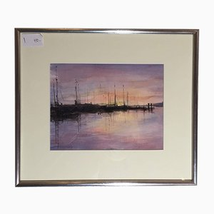 Hans Fitze, Harbor Scene, Watercolor, Framed