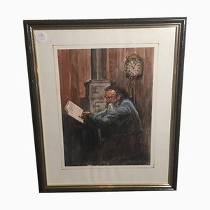 Hans Fitze, Man Next to Oven, Watercolor, Framed