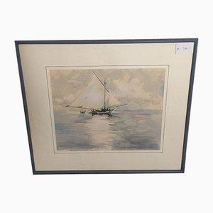 Hans Fitze, Segelboot, Aquarell, gerahmt