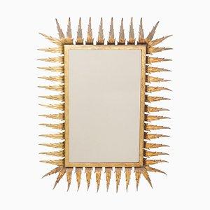 Mid-Century Modern Sunburst Mirror in Brass, 1960s
