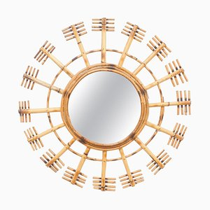 Mid-Century Modern Mirror Bamboo Rattan Handcrafted French Riviera, 1960s