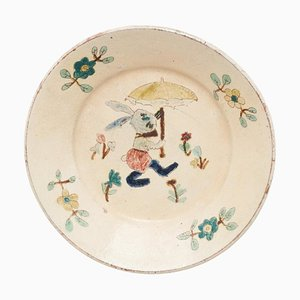 Traditionelle spanische rustikale dekorative handbemalte Keramikplatte, 1920er