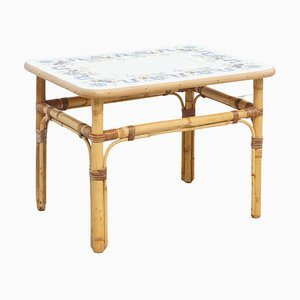 Bamboo and Floral Tiles Center Coffee Table, 1960s