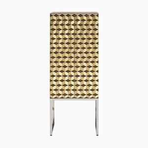 Cabinet Biri C03 Limited Edition Steel / Tiles Brass Matt by Peter Ghyczy
