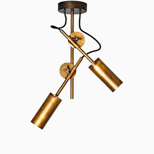 Lampada da soffitto Stake 2 in ottone grezzo di Johan Carpner per Konsthantverk