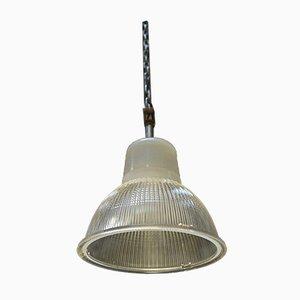 Industrielle Lampe aus Glas und Metall von Holophane, 1960er