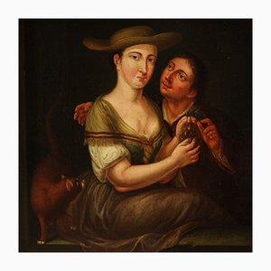 Antique Flemish Genre Scene Painting, 18th Century
