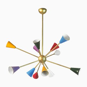 Italienischer Messing Sputnik Kronleuchter, 1950er