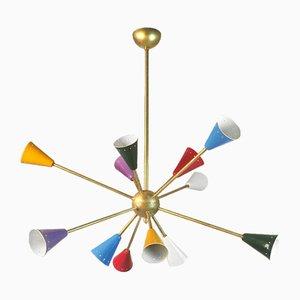 Lampadario Sputnik in ottone, Italia, anni '50