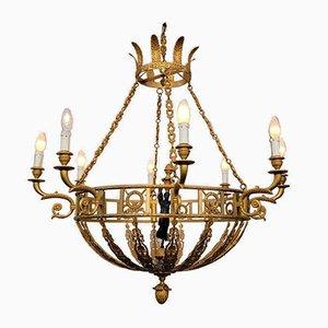 Goldener Bronze Kronleuchter im Empire Stil, 20. Jh