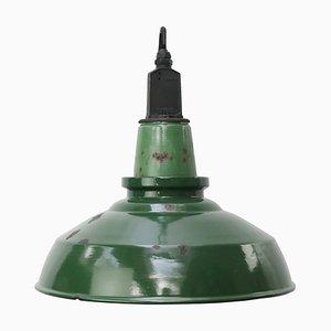 Vintage British Industrial Green Enamel Pendant Light