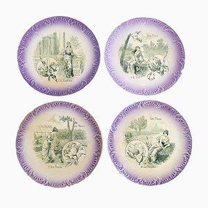 Art Nouveau Flower Plates from Digoin Sarreguemines, Set of 4