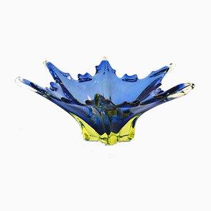 Große flache Sternblatt Schale aus Murano Glas