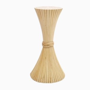 Mid-Century Rattan Sheaf of Wheat Floor Pedestal from McGuire, 1970s