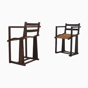 Massive Wenge Armlehnstühle mit runden Eichenholz Lamellen Sitzen, 1980er, 2er Set