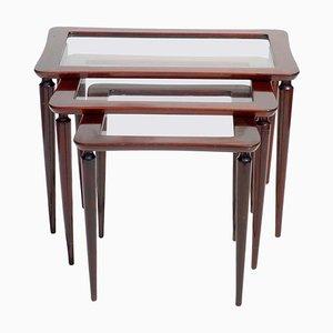 Italian Mahogany Nesting Tables by Ico Parisi for De Baggis, 1950s, Set of 3
