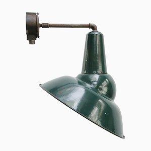 Vintage Industrial French Asymmetric Green Enamel Wall Light by Sammode