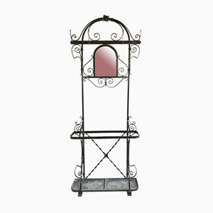 Art Nouveau Style Wrought Iron Coat Rack with Umbrella Stand, 1900s