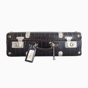 Brown Crocodile Effect Suitcase, France, 1940s