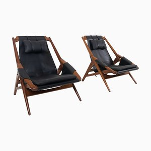 Leather Lounge Chairs by W, G. Andersag, Italy, 1960s, Set of 2